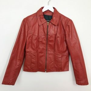 Vintage • 60s 70s Rust Red Leather Zip Up Jacket